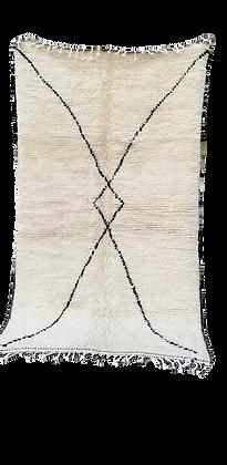 R62- Beni Ouarain Moroccan Berber Rug. 100% wool. Hand wove 7.8x4.5 ft