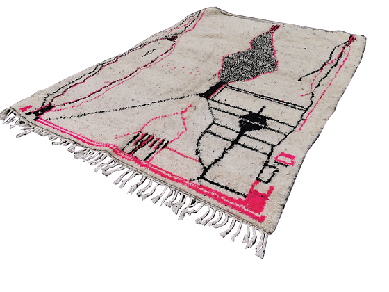 R15- 8.5x5 ft Picasso Rug.Handmade Azilal Moroccan Traditional Rug.Natural Wool