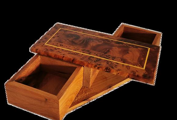 T1- Cukklinks  Magical Box- 2 Draws Thuya Burl Box 18x8 cm