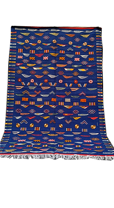 R61- Amazing Blue Handmade Moroccan Berber Rug, Hand embroidered. 8.7x5.7ft