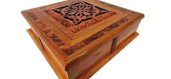 T17-  Magical twisty Box. Carved Jewelry, Cufflinks Box 9.8x9.8x3.2 25x25x8cm