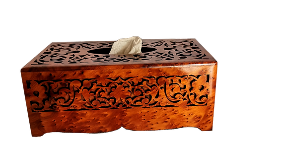 T34- Hand Carved Tissu Box. High Quality Marquetry 10.2x5.5x3.9""