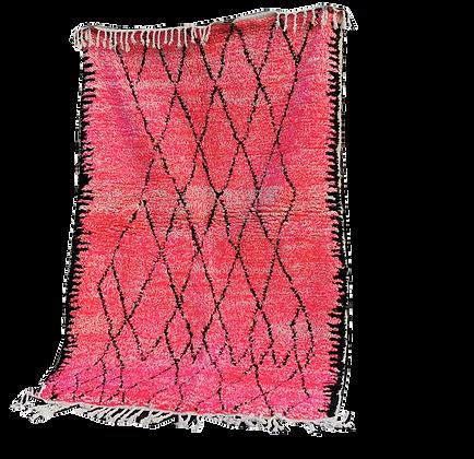 R18- Pink Moroccan Rug Beni Oauarain.7.3x4.8 Natural Wool Tribal Berber Rug