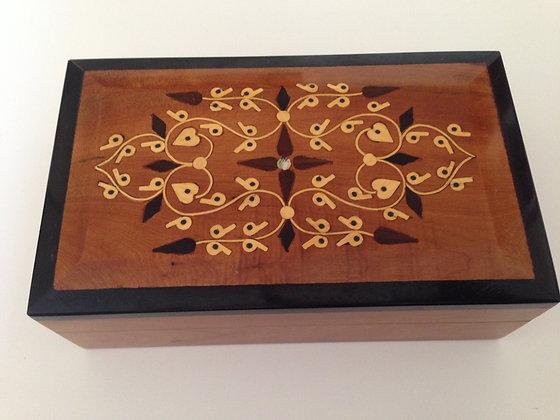 T13-  Inlaid Box Thuya Burl  Cigar Box 7.8x4.7x1.8//21x12x5cm