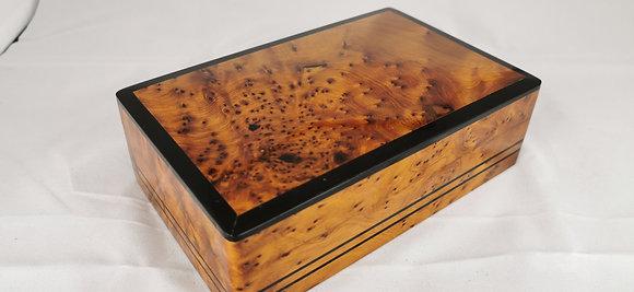 "T90-Handmade Burl Thuya Box Jewelry Cufflinks Box 8x5x2.80""20x13x6.5cm"