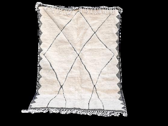 R66-  8.2x5.2 ft . Handmade Bedroom Rug Beni Ouarain Natural Wool 250x160cm
