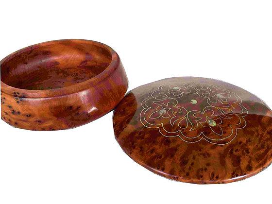"""T112-Jewelry Cufflinks Box. 6x2.5"""" Thuya Burl  Christmas gift Birthday"""
