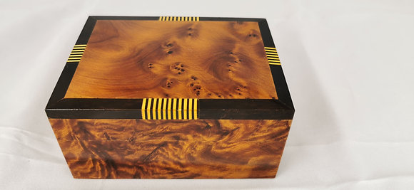 "T116- Luxurious  Jewelry Cuff links Box Thuya Wood 4.8x3.5x2.6""Inlaid"