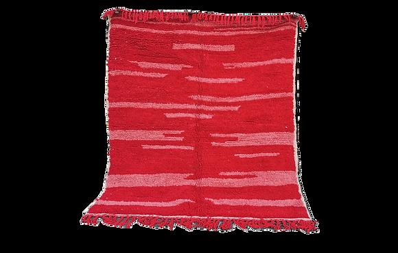 R72- 539x3.9ft Handmade Moroccan Berber Red Rug Natural Wool Azilal Bedroom rug