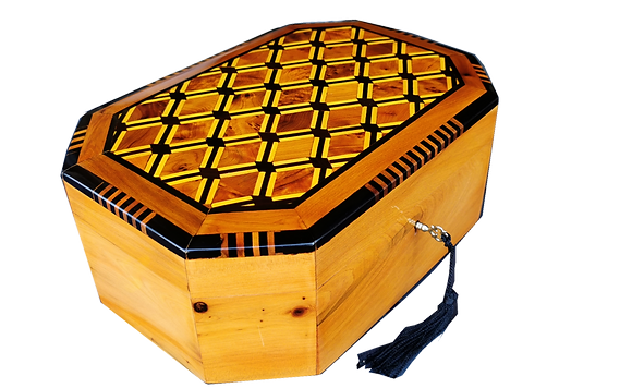 """T112- Handmade Inlaid Jewelry Box. 10.6x7.4x3.9"""" Thuya Burr and Lemon Wood."""