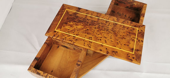"T5- Cukklinks  Magical Box- 2 Draws Thuya Burl Box 8.6x4.3""// 22x11 cm"