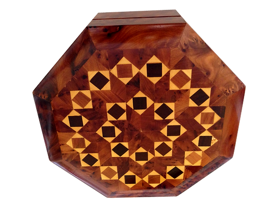 "T22-  Octagonal Inlaid Box Marquetry 6.6x2.3 ""17x6cm"