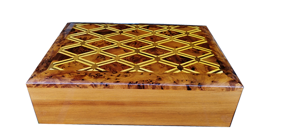 T111- InlaidJewelry, cigar box Thuya Burr and Lemon Wood