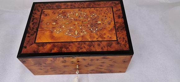 "T86- Stylish Jewelry Box. Thuya Burl Silver Mother of Pearl 9x6.2x3.5""23x16x9cm"