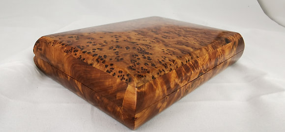 "T120-Stylish Jewelry, Cufflinks Box. 6.9x4.9x1.5""Thuya Burl Christmas  present"