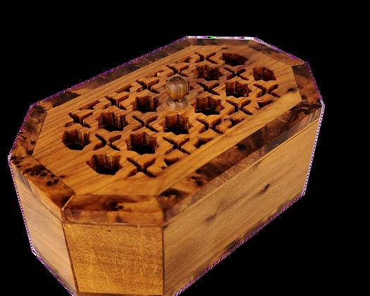 "T117- Hand Carved Box Thuya Burl Cuff links Jewelry Box 5.5x3.2x2"""