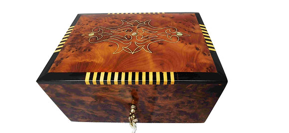 T101- Silver,Mother of Pearl Inlaid Jewellery Box Christmas Present 6.3x4.5x3""