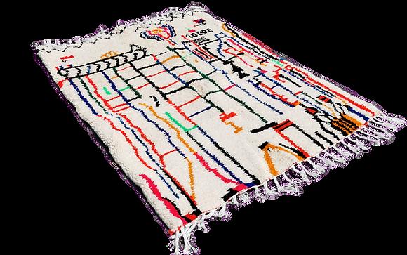 R14-Handmade Moroccan Multicolorful Rug Berber Carpet 6.5x3.9ft Azilal
