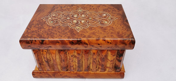 "T77- Magical Box  inlaid with Silver and Mother of Pea7.5""x5""x4.5""// 20x13x12 cm"