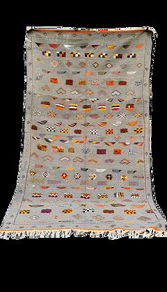 R53-Handmade Moroccan Berber Rug Camel Hair 8.8x4.5 ft Hand Embroidery