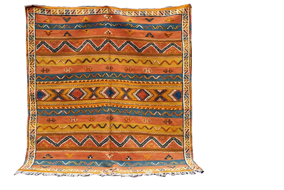 R35- 7x6.5 ft/ ColourfulMoroccan Berber Rug. Made of Camel Hair215x200 cm