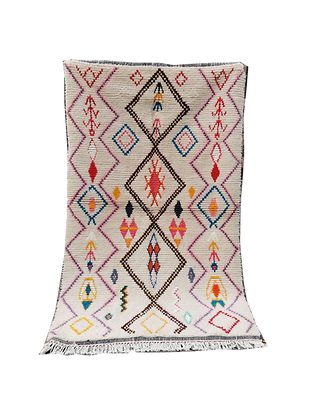 R11- 7.3x4.2ft /225x130cm Handmade Moroccan Berber Azilal Rug 100% wool