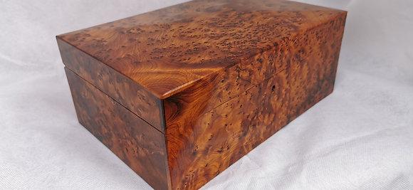 "T81-Stylish Jewelry Cufflinks Box.Thuya Burl/11.8x 7.8x4.7""//30x20x12cm"