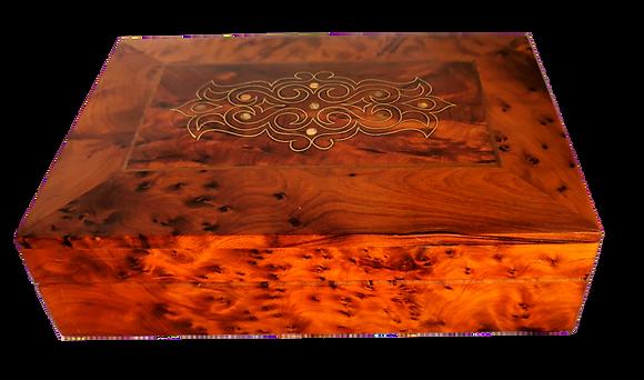"T98- Mother Of Pearl inlaid Jewelllery Box Thuya Burl 8.8x6x2.5"""