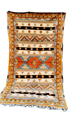 R55-Handmade Traditional Berber Rug Hand Embroidery. 8.5x4.9 ft