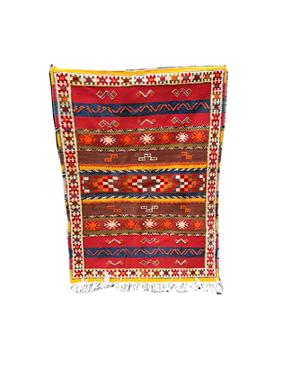 R26- 5.2x3.3 ft/ 160x103 cm Handmade Moroccan Berber Glaoui Rug Natural wool