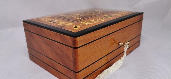 """T83-Inlaid Jewelry Box handmade of Thuya Burl . 9.4x5.9x3.9""""//24x15x10"""