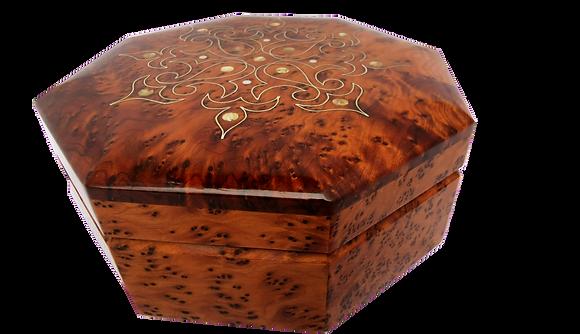 "T33- Octagonal inlaid jewelry box. Thuya Burl. 7x2.5"""