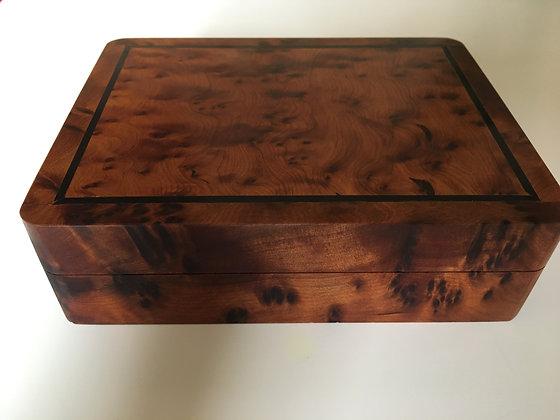 """T27- Jewellery Box. Thuya Burl with Ebony 6.2x4.7x1.7""""//16x12x4.5 cm"""