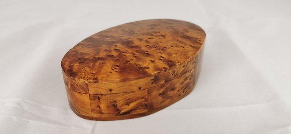 """T52- Oval Thuya Box. Cufflinks Jewelry Box 5.5x3.9x1.9""""//14x10x4 cm"""