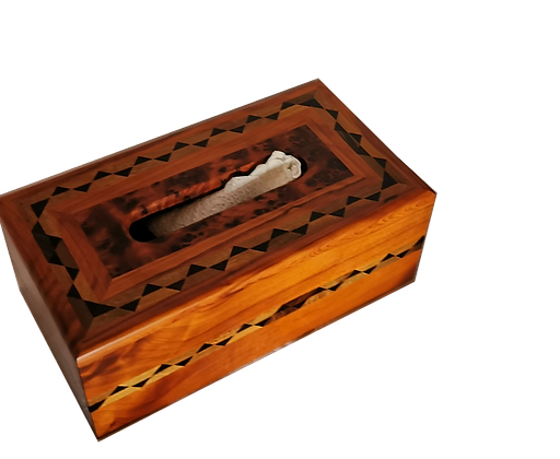 "Inlaid Tissu Box, Thuya Burl Inlaid Inlaid with Walnut  10.2x5.5x3.9"""