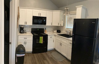 Kitchen in one of our newest two bedroom cabins.