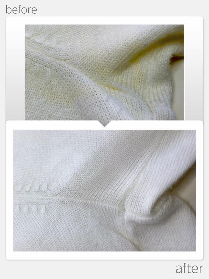 白ニット脇部分黄変とり
