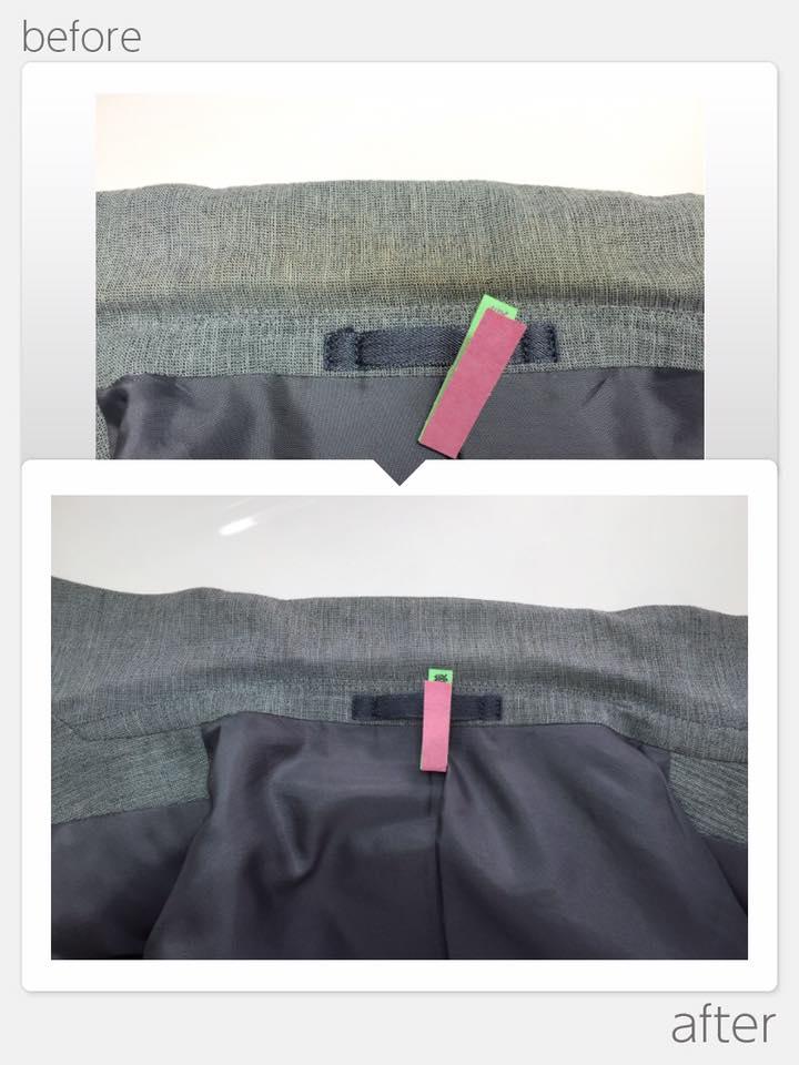 ジャケット襟部分変色なおし
