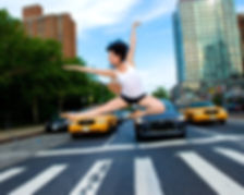 Micki jumping in front of cars in NYC