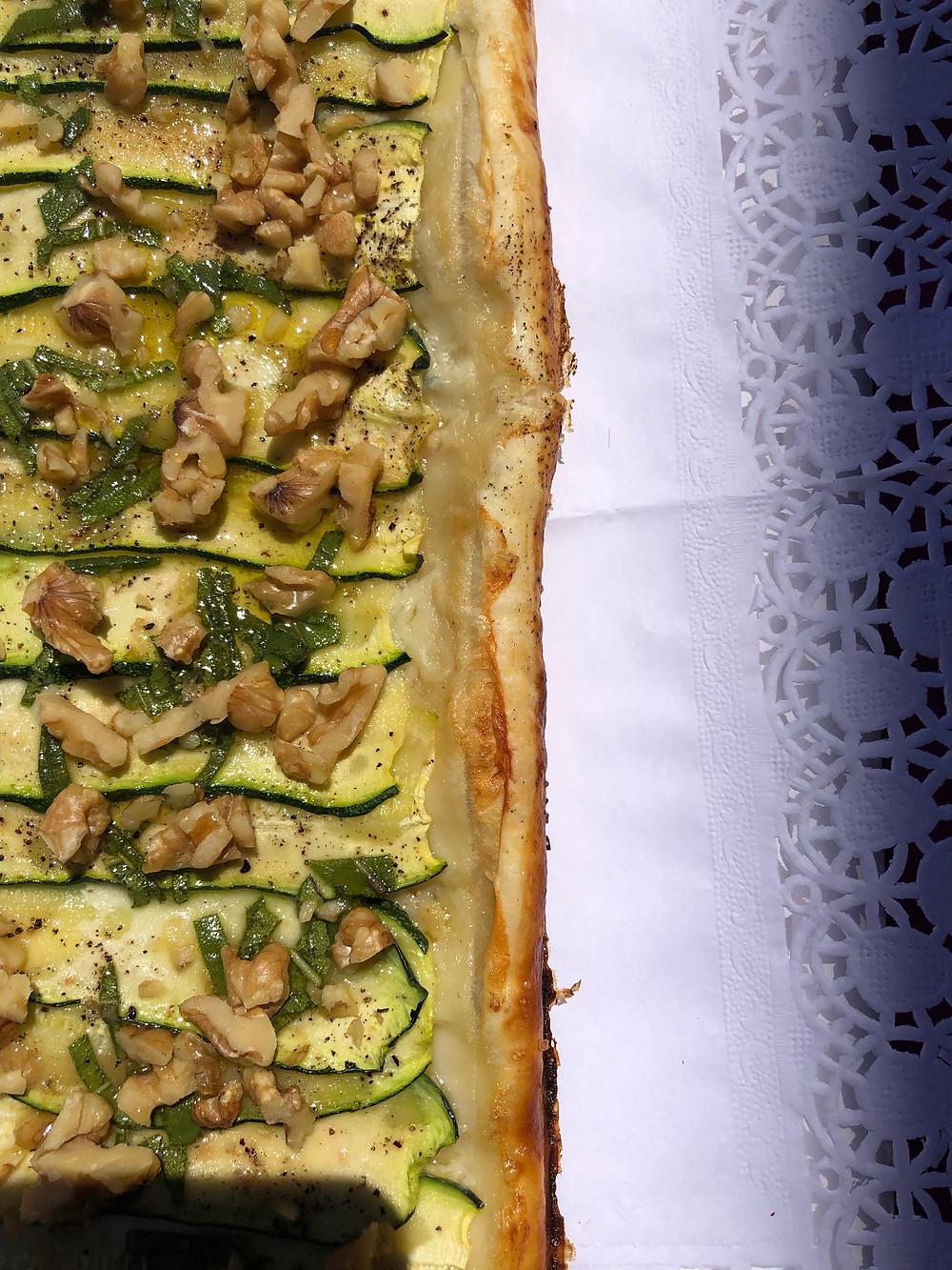 Tarta de calabacín y gorgonzola