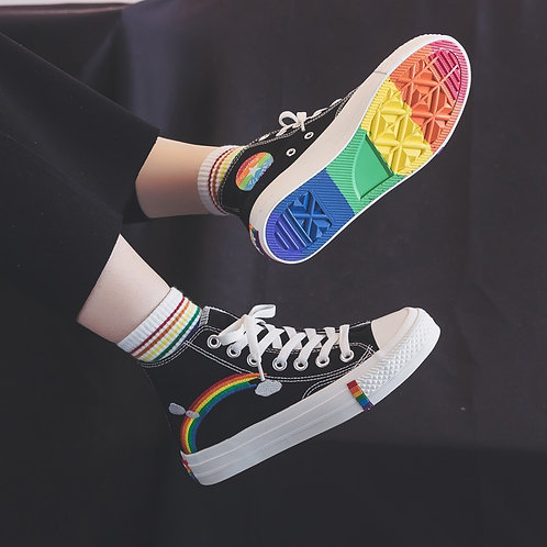 Women's Fashion 2020 Vulcanized Shoes Woman Sneakers New Rainbow Retro Canvas