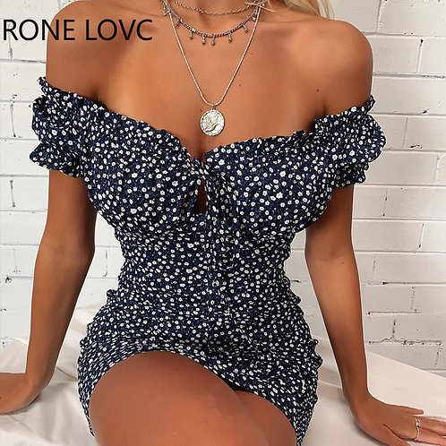 Women Strapless Off Shoulder Floral Pleated Ruffles Mini Dress