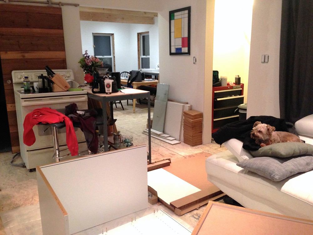 Living in a home renovation: Using living room as kitchen storage