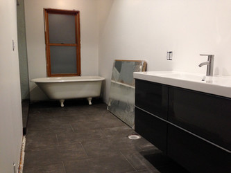 Finished bathroom floor and new vanity