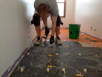 Bathroom floor tile installed