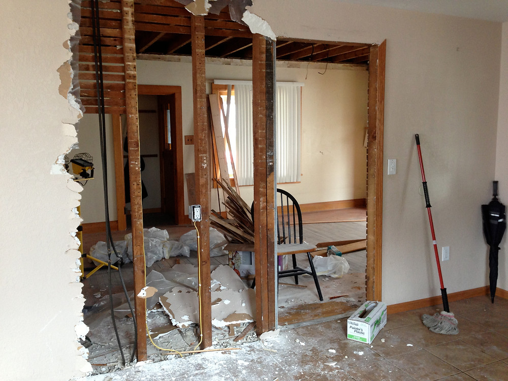 Living in a home renovation: removing and replacing drywall