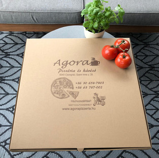 Logózható 4 szögletű pizzadoboz, fehér és barna