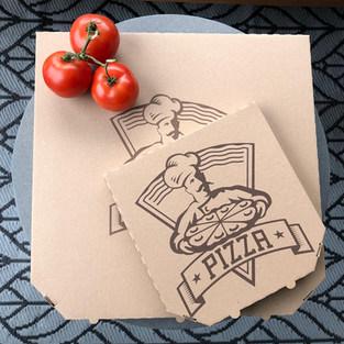 6 szögletű általános pizzadoboz barna és fehér