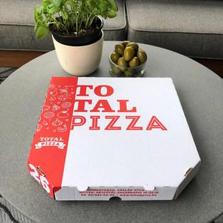 Logózható 6 szögletű pizzadoboz, fehér és barna