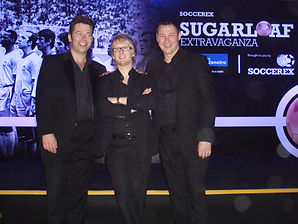 (L to R) Chris Dugdale, Sonic and Dorian at Soccerex Event, Rio.